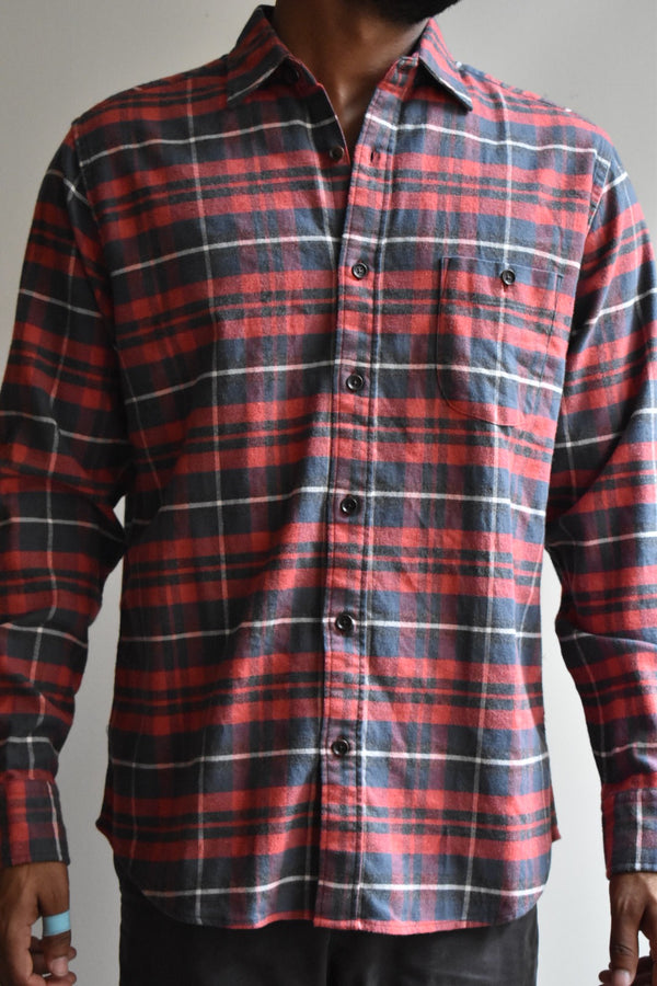 Faherty Stretch Seaview Shirt Red Charcoal Grey