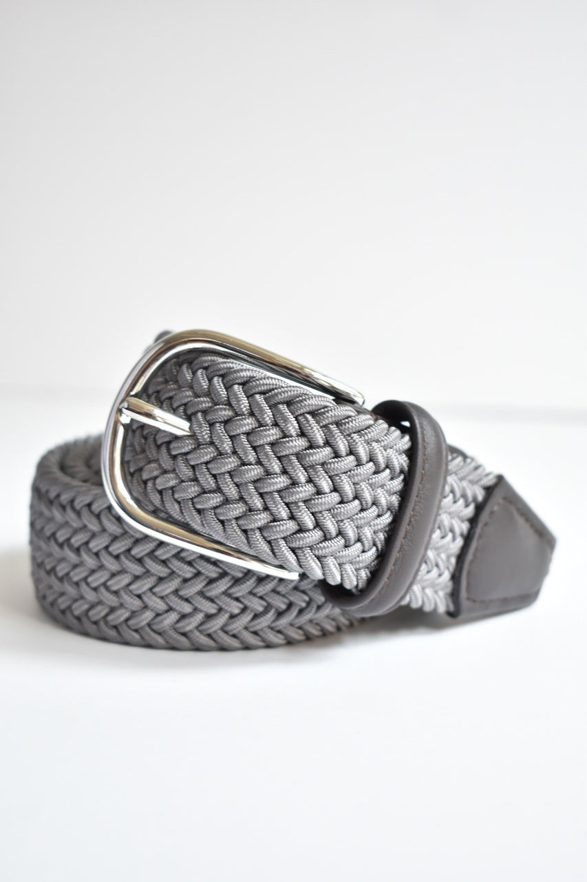 Anderson  Classic Woven Belt With Leather Detail- Multiple Colors