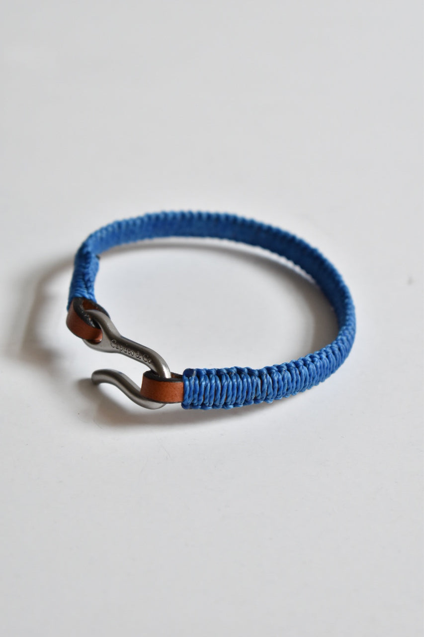 Caputo & Co Hand Knotted Leather Bracelet Blue