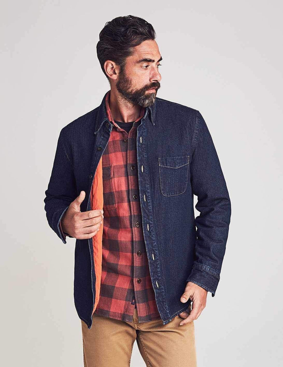 TS-Faherty Herringbone Workshirt Dark Java Wash
