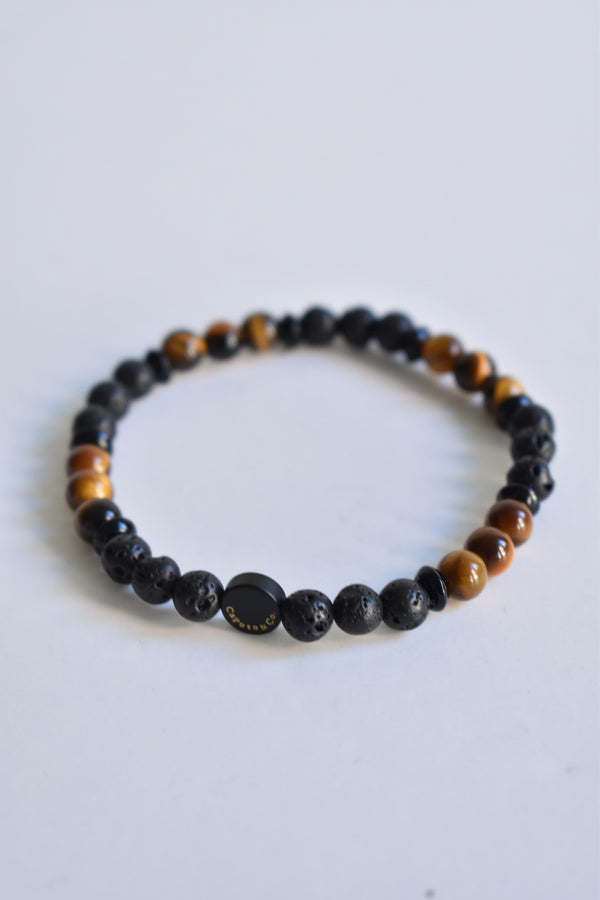 Caputo & Co. Ubud Stretch Bracelet Tigers Eye-Lava-Onyx