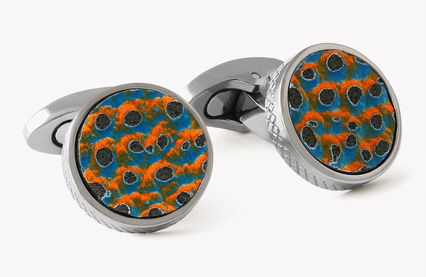 Tateossian Orange & Blue Scaly Leather Titanium Cufflinks