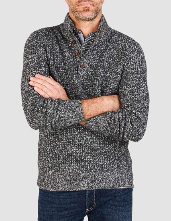 TS-Faherty Cashmere 1/4 Button Sweater Charcoal Marl