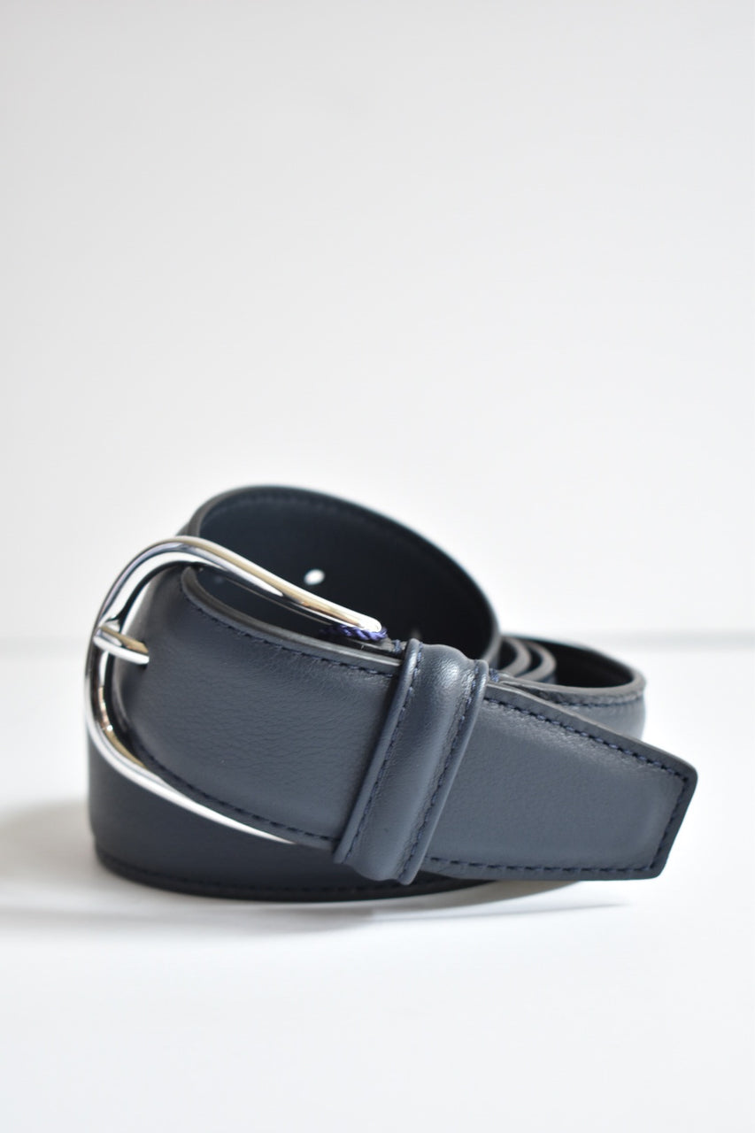 Anderson Belt Leather With Silver Rounded Buckle