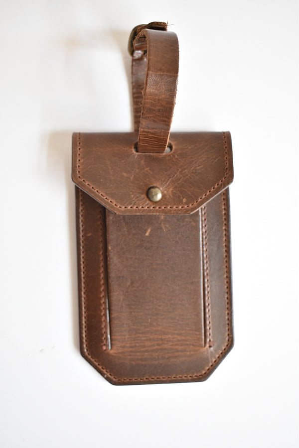 Moore & Giles Luggage Tag Milled Brown