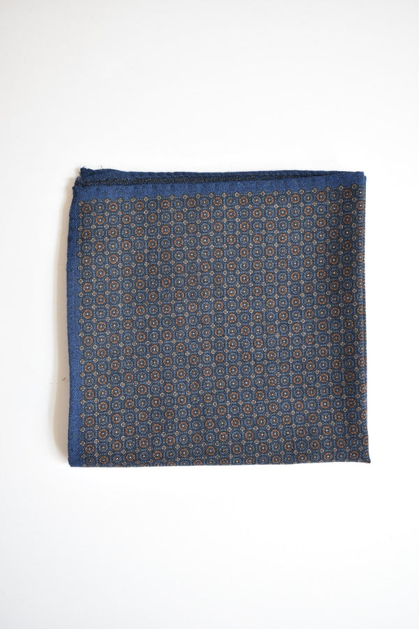 Ledbury Wrightwood Double Face Pocket Square Navy