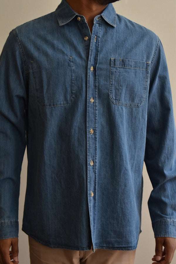 Saturdays Kenmare Denim Long Sleeve Shirt Washed Indigo