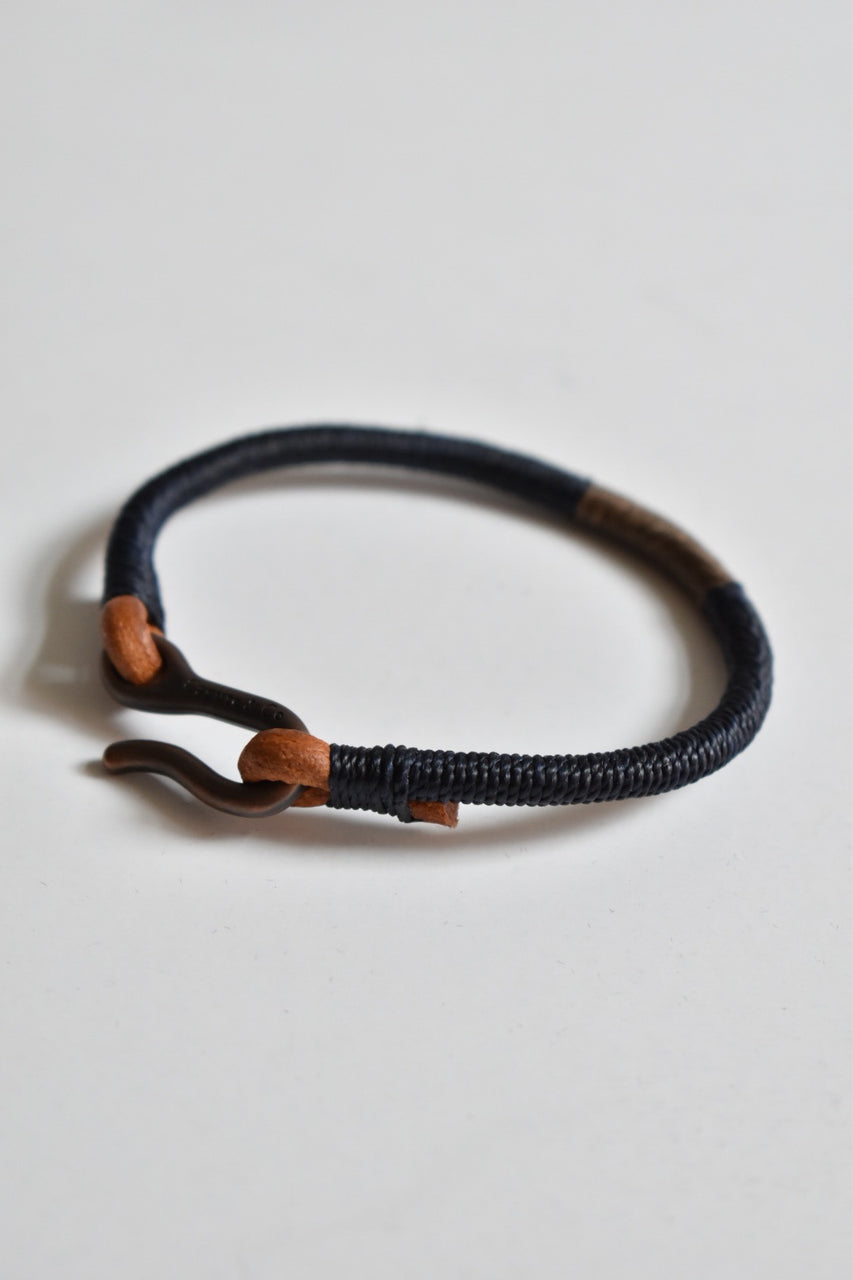 Caputo & Co Hand Wrapped Leather Bracelet Dark Navy/Brown