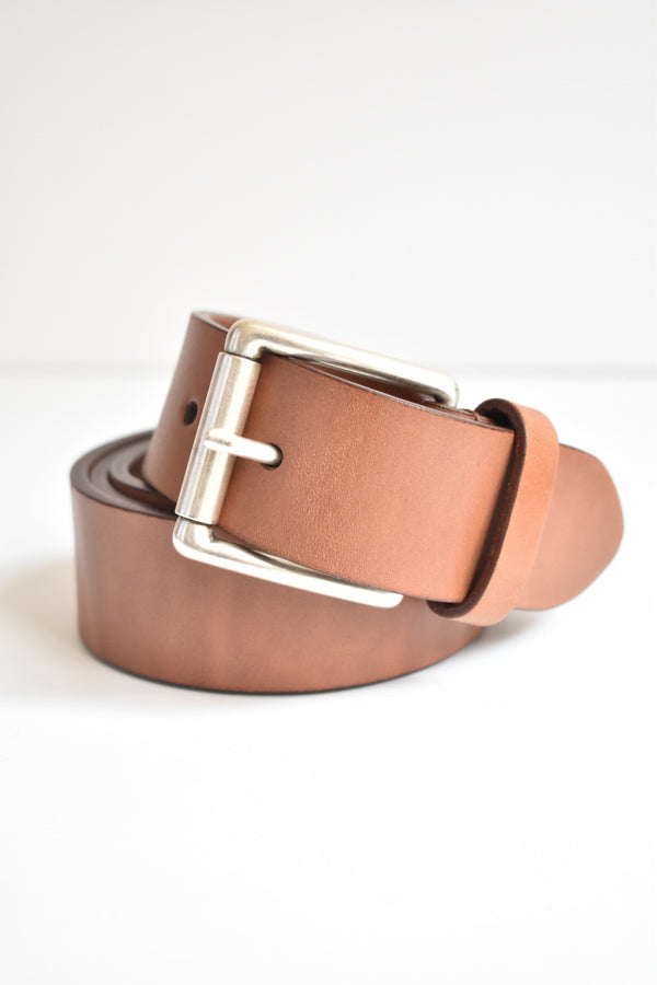 Anderson Belt Tan Leather Belt With Silver Square Buckle