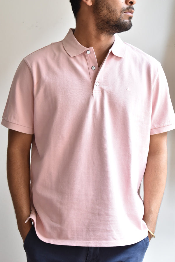 Rag & Bone Hyper-Laundered Pique Polo Pink