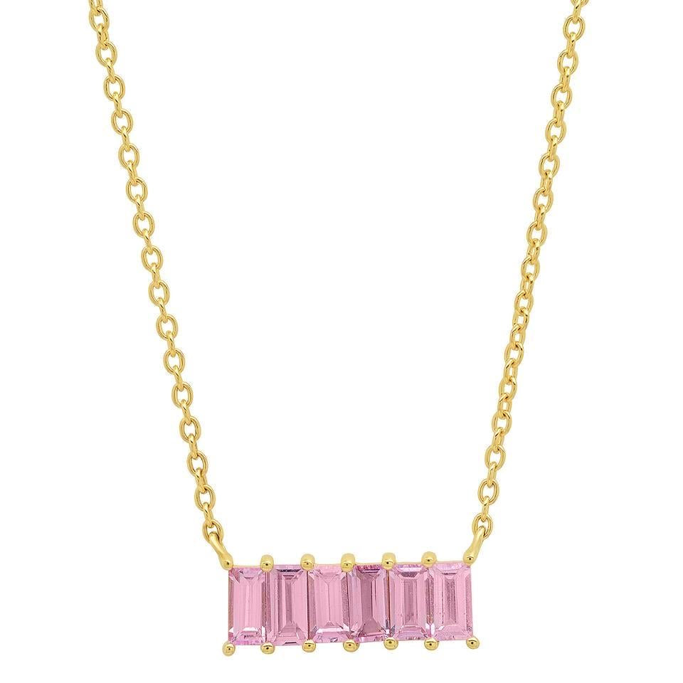 Eriness 14k yellow gold Pink Sapphire Baguette Staple Necklace