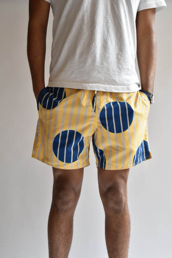 Saturdays Timothy Striped Polka Dot Swim Short Goldenrod