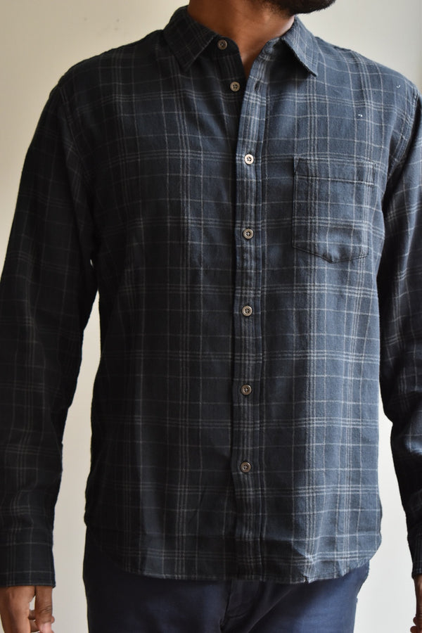 Corridor Black Dobby Plaid Long Sleeve Shirt