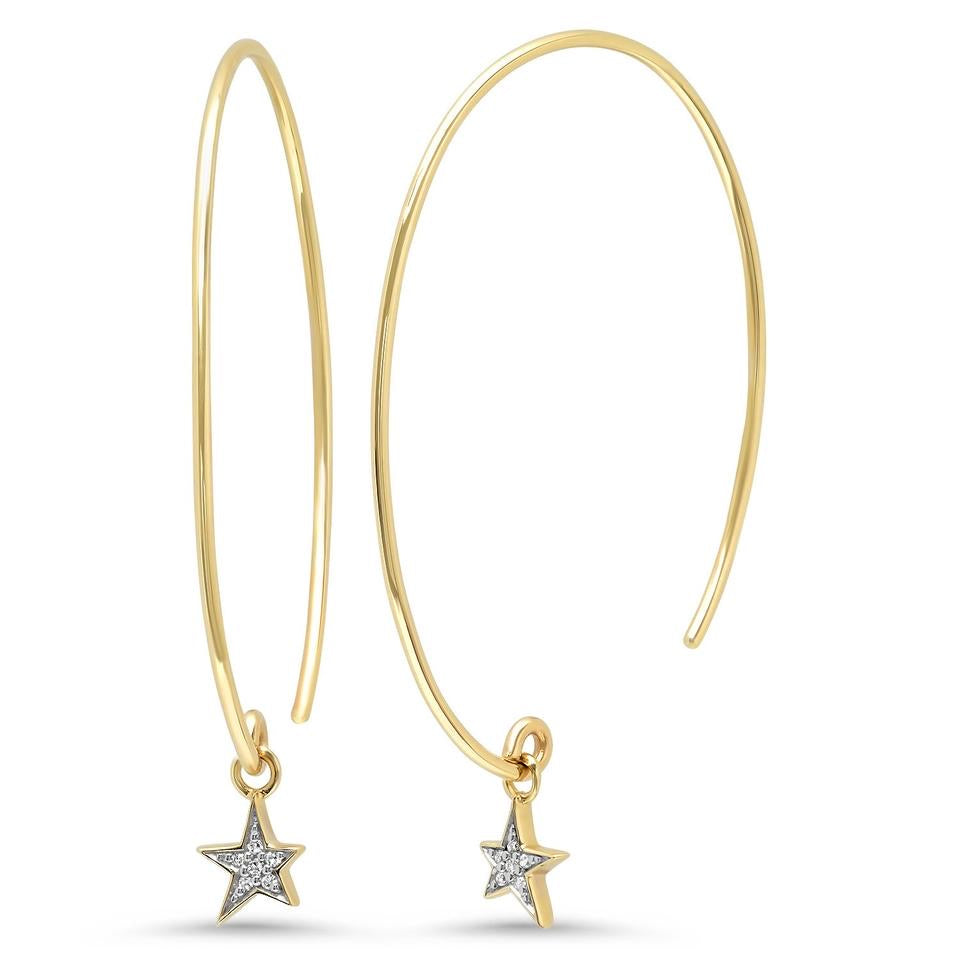 Eriness 14K Yellow Gold Wire Earrings with Pave Diamond Star Charm