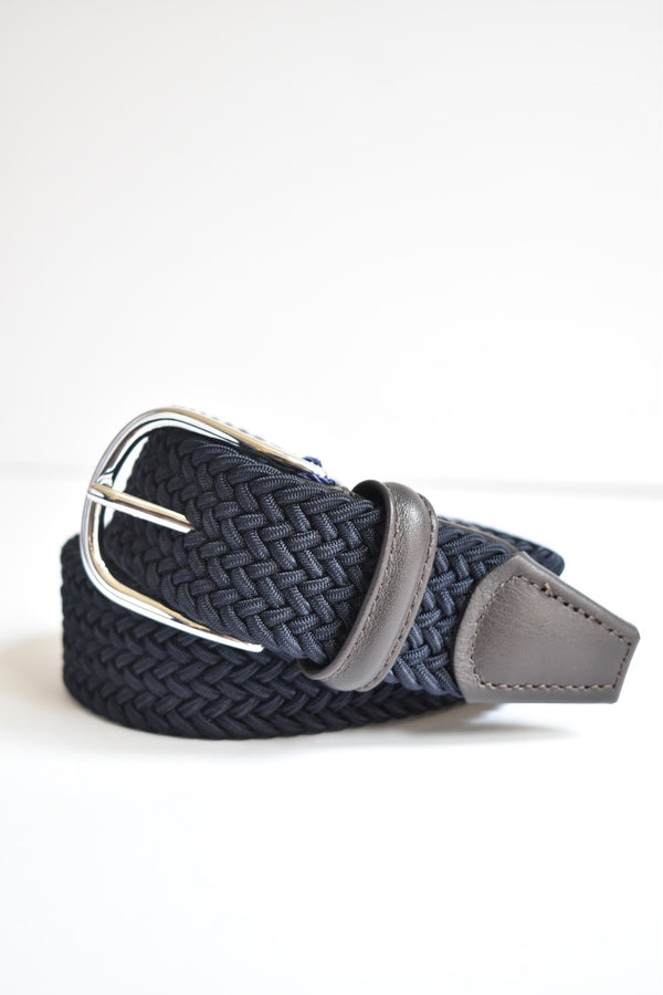 Anderson  Classic Woven Belt With Leather Detail