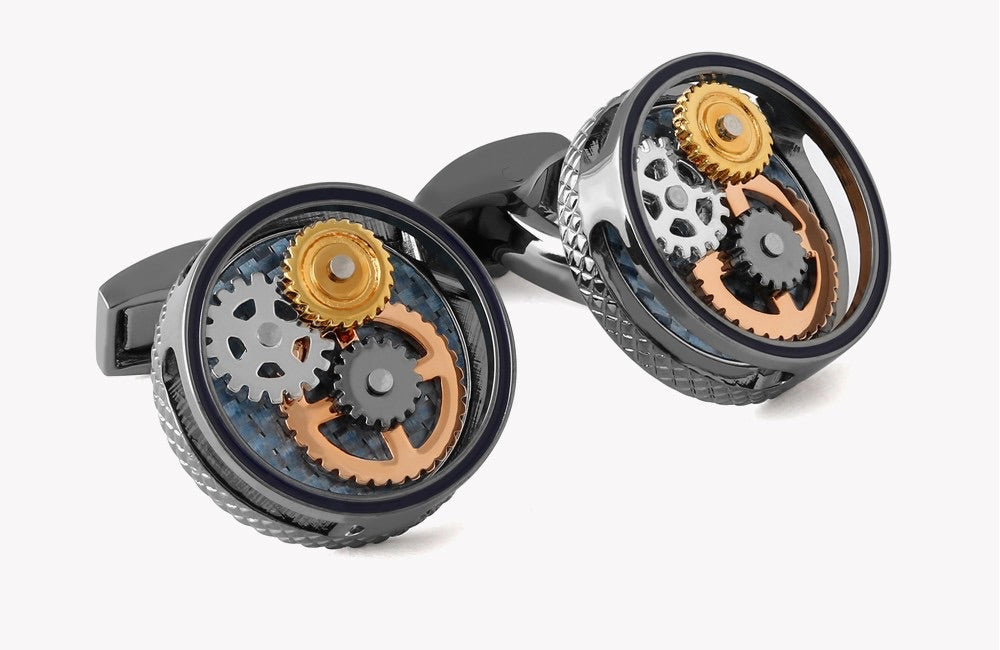 Tateossian Round Gear Carbon Fiber Cufflinks