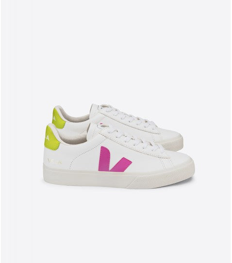 Veja Womens Campo white Ultraviolet Jaune Fluo Sneaker