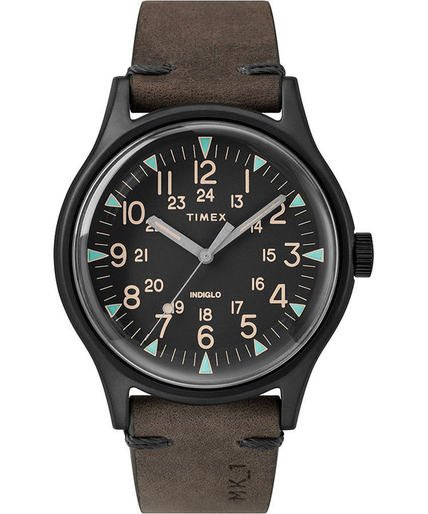 Timex MK1 Steel 40mm Leather Strap Watch Black