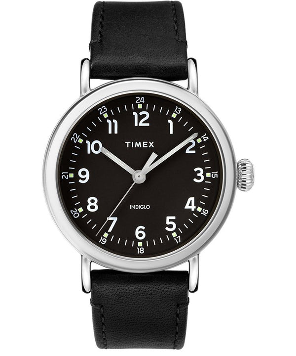 Timex Standard 40mm Leather Strap Watch Black