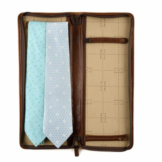 Moore & Giles Evans Tie Case Titan Milled Brown
