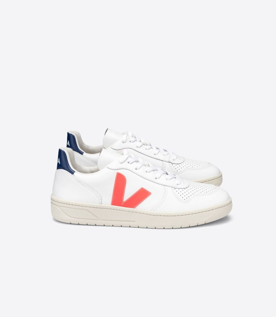 Veja V-10 Leather White Orange-Fluo Cobalt (m)