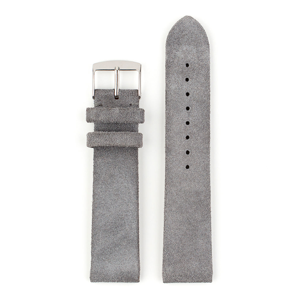 VAPAUS watch strap soft grey suede leather