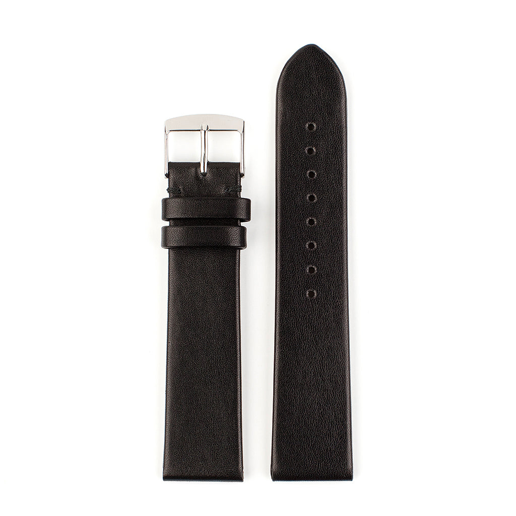 VAPAUS watch strap unstitched black leather