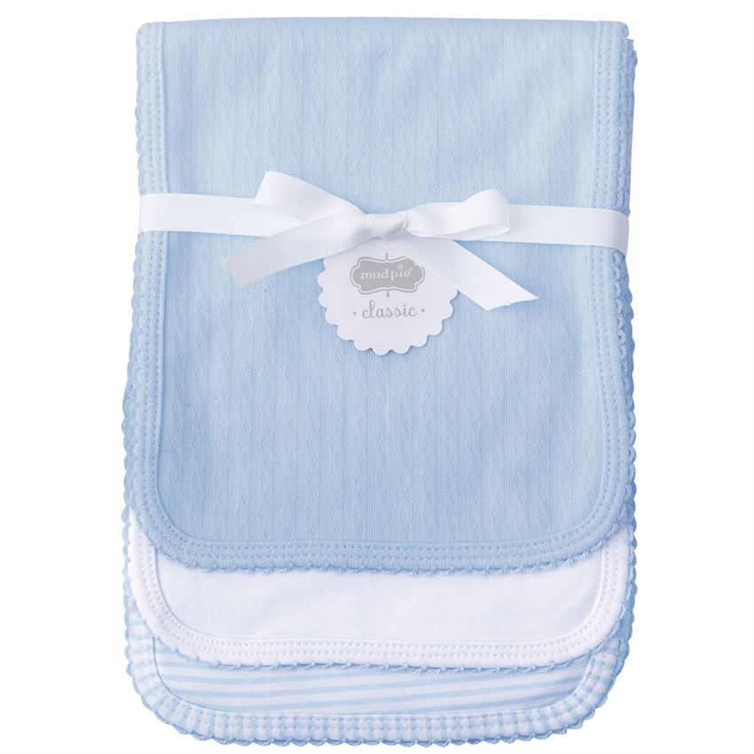 MudPie - Blue Pointelle Burp Cloth Set