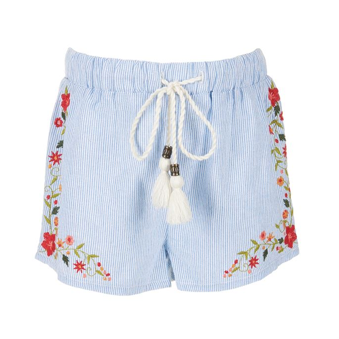 Coco & Carmen - Girls Hana Embroidered Striped Shorts