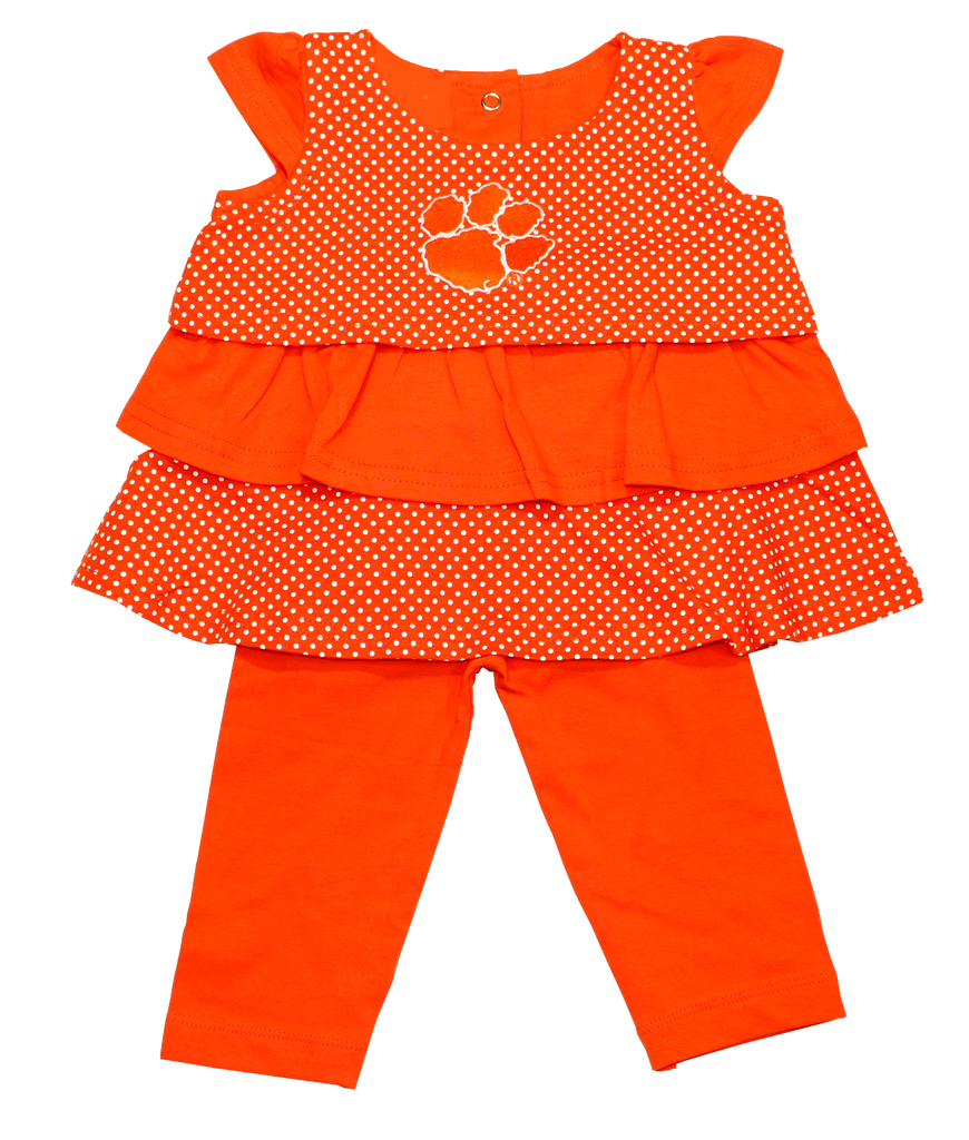 Girls' Clemson Ruffled Shirt and Pant Set