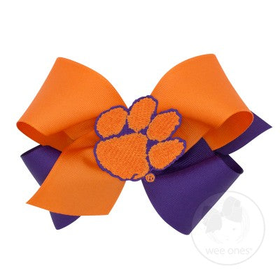 Wee Ones Hair Bow - Clemson Two-Tone with Tiger Paw