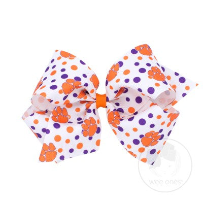 Wee Ones Hair Bow - Clemson Polka Dot