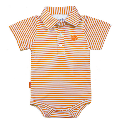 Boys Knit Polo Creeper in Orange
