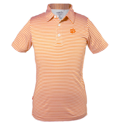 Boys' Knit Striped Polo in Orange