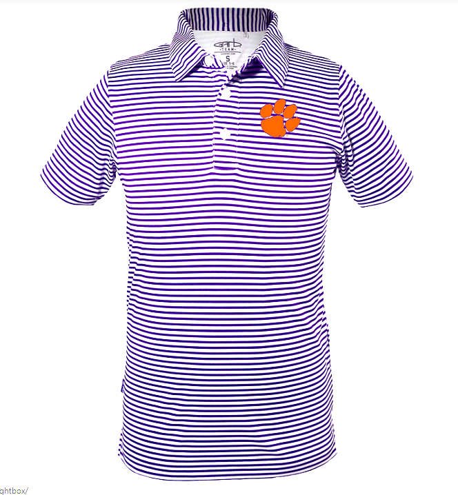 Boys' Knit Striped Polo in Purple