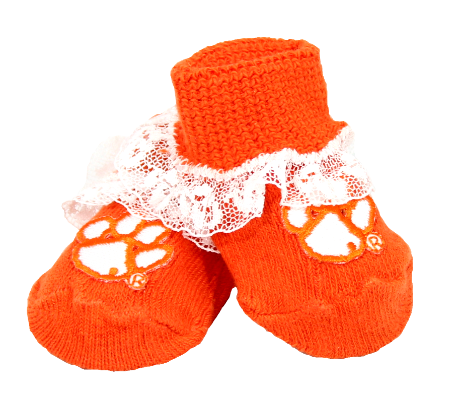 Clemson Lace-Trimmed Baby Booties