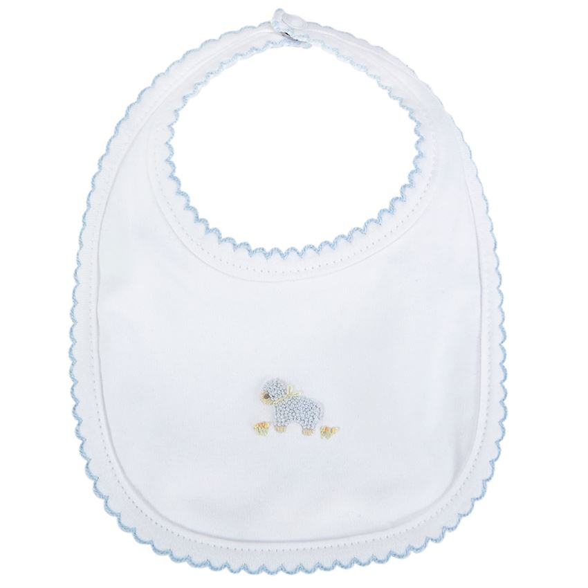 MudPie - Blue French Knot Lamb Bib