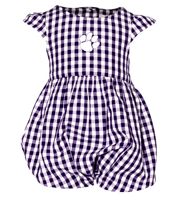 Girls' Clemson Gingham Bubble in Purple