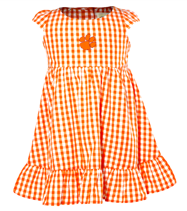 Girls' Clemson Gingham Dress in Orange or Purple