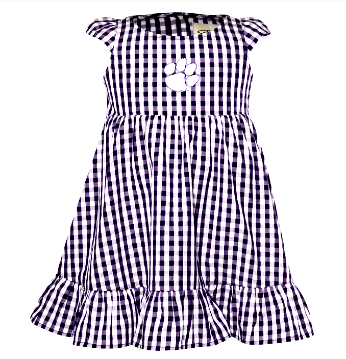 Girls' Clemson Gingham Dress in Purple