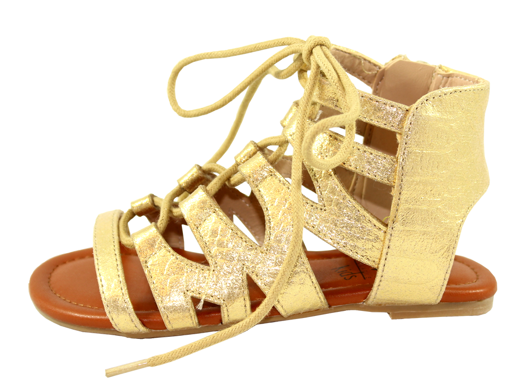 Snake Embossed Lace-Up Sandal by Volatile Kids