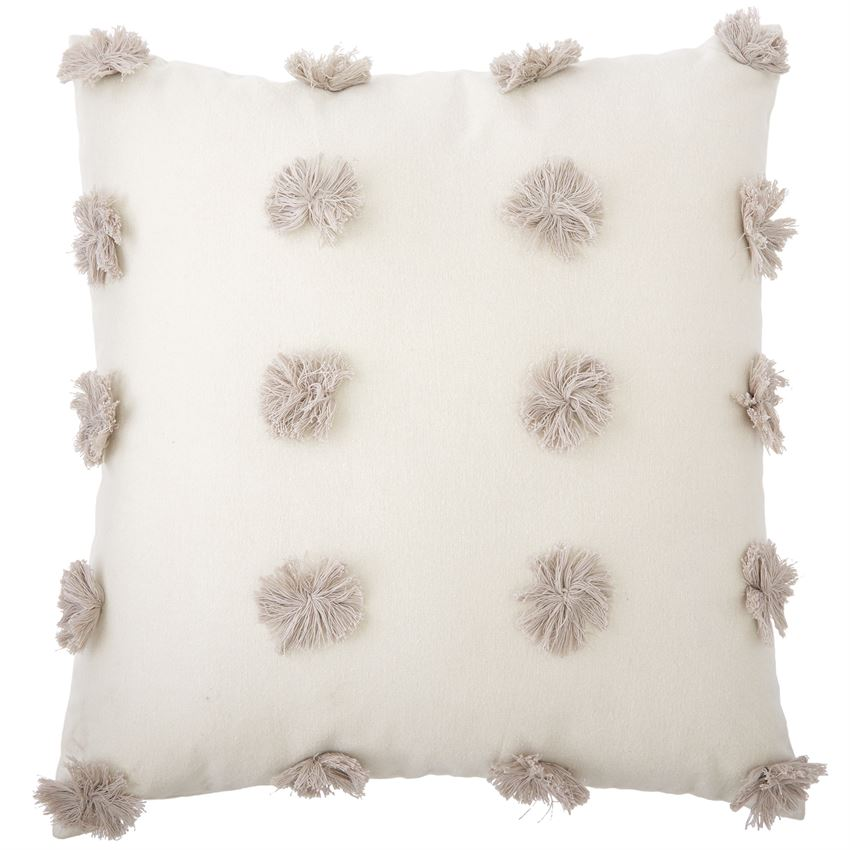 MudPie - Gray Pom-Pom Pillow