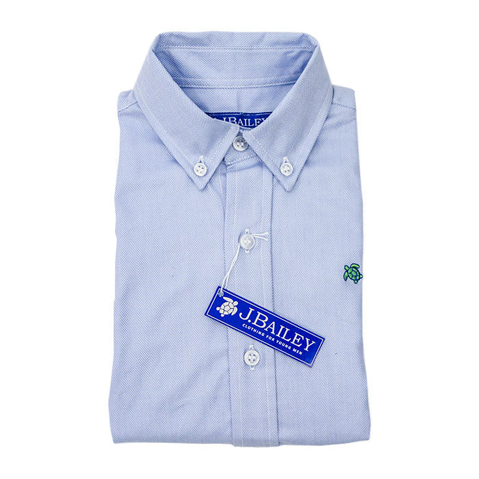 J. Bailey - Blue Herringbone Button-Down Shirt