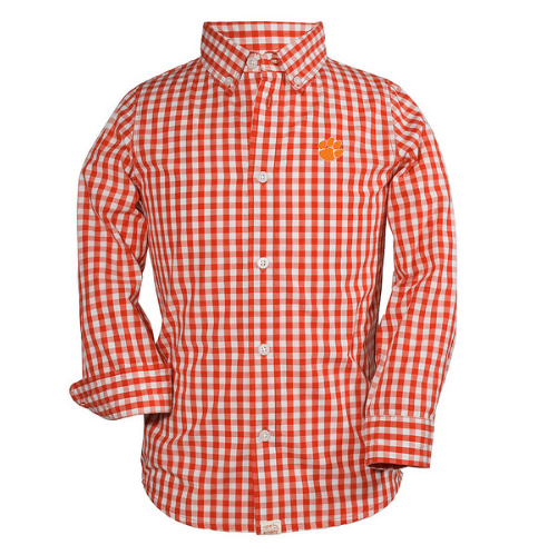 Boys Clemson Checkered Shirt in Orange