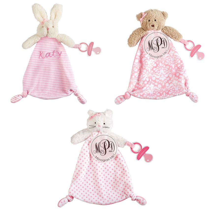 MudPie - Monogrammable Pacifier Cuddlers in Pink
