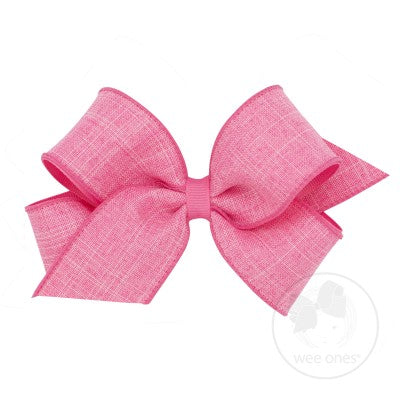 Wee Ones Hair Bow - Faux Linen Pink or Purple