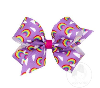 Wee Ones - Medium Rainbow Print Grosgrain Bow