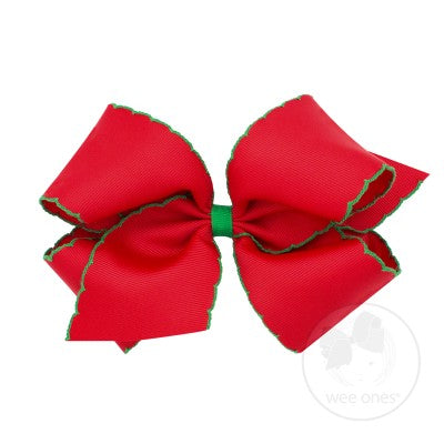 Wee Ones Hair Bow - Red with Green Trim