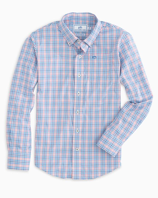 Southern Tide - Boys Freedom Rocks Plaid Intercoastal Performance Shirt