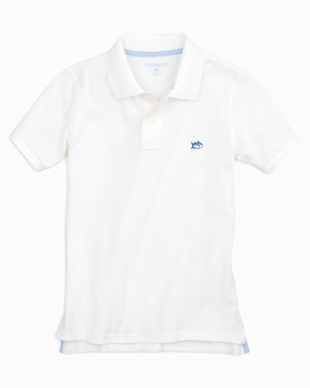 Southern Tide - Boys Skipjack Polo in Classic White